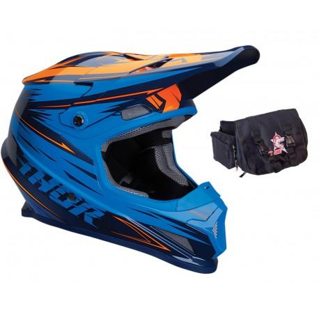 Kask THOR SECTOR WARP niebiesko-pomarańczowy + torba narzędziowa GRATIS!!